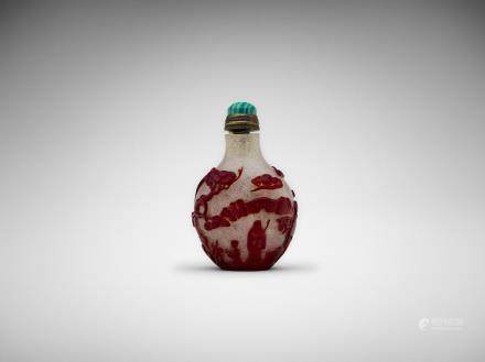 A Chinese red glass overlay 'landscape' snuff bottle