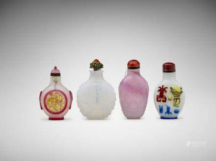 A group of four Chinese glass snuff bottles