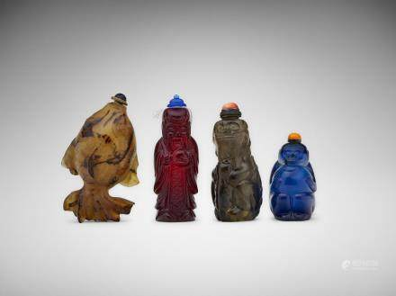 Four Chinese carved hardstone and glass snuff bottles