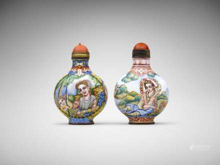 Two Chinese painted-enamel 'European figures' snuff bottles