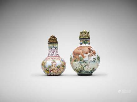Two Chinese painted-enamel snuff bottles