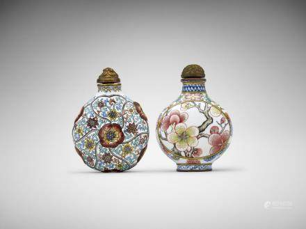 Two Chinese painted-enamel 'Floral' snuff bottles