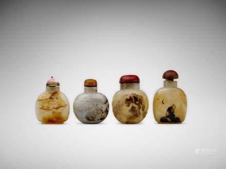 Four Chinese carved agate snuff bottles