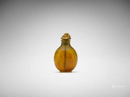 A Chinese painted opaque yellow glass 'landscape' snuff bottle