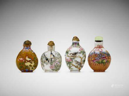 Four Chinese painted glass snuff bottles