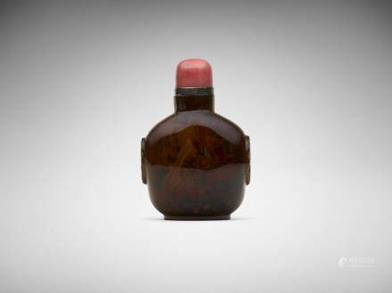 A Chinese inside-painted 'Three Kingdoms' agate snuff bottle