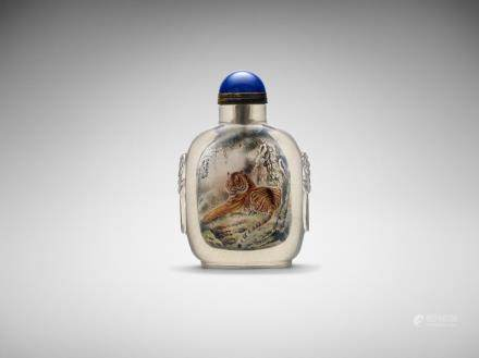 A Chinese inside-painted 'tiger' rock crystal snuff bottle