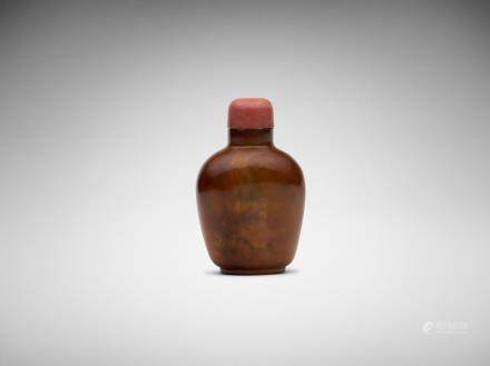 A Chinese inside-painted 'landscape' agate snuff bottle