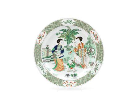 A large famille verte 'ladies' dish