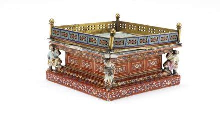 An extremely rare famille rose and champlevé enamel embellished stupa base