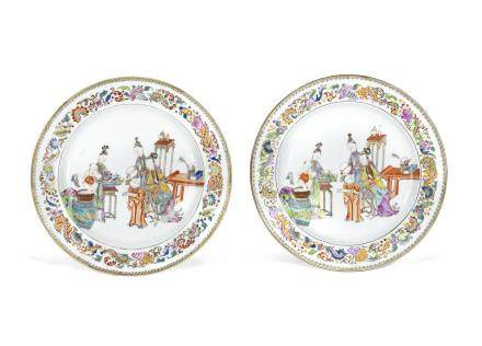 A pair of famille rose 'ladies and boys' dishes