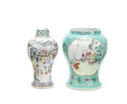 Two famille rose baluster vases