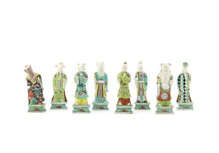 A set of famille rose figures of the Eight Daoist Immortals
