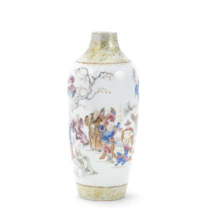 A famille rose 'eighteen luohans' vase