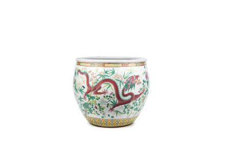 A large famille rose 'dragon and peony' fish bowl