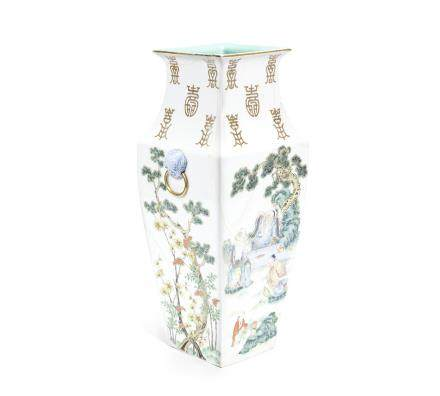 A famille rose square tapering vase