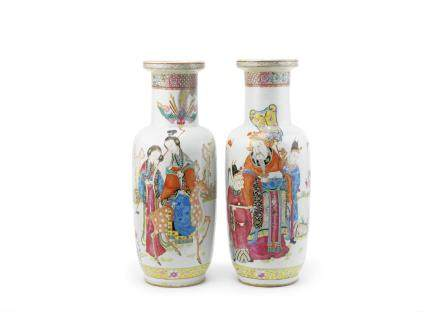A large pair of famille rose rouleau vases