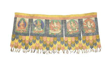 A large painted temple banner