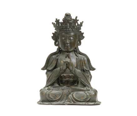 A fine and large bronze figure of Vairocana