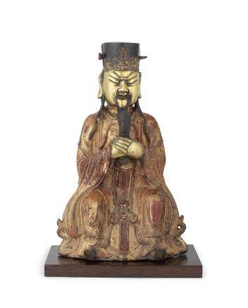 A gilt-lacquered bronze figure of Tianguan