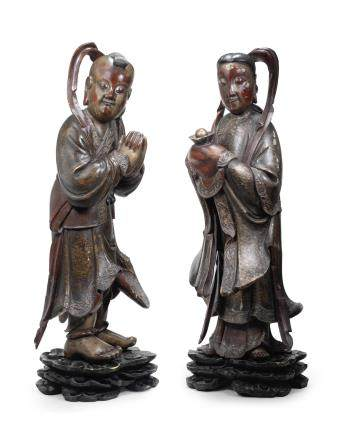A pair of large lacquered wood figures of Shancai and Longnü