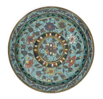 An exceptionally rare cloisonné enamel cup stand