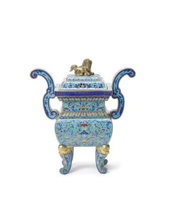 An 'Imperial-tribute' painted enamel incense burner and cover, fangding