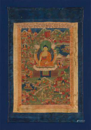 A thangka of scenes from the past lives of Shakyamuni Buddha