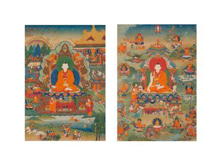Two rare thangkas of Lamas and the Life of Buddha