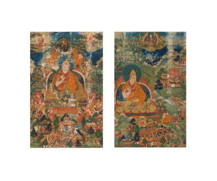 Two rare thangkas of the Third and Seventh Dalai Lamas