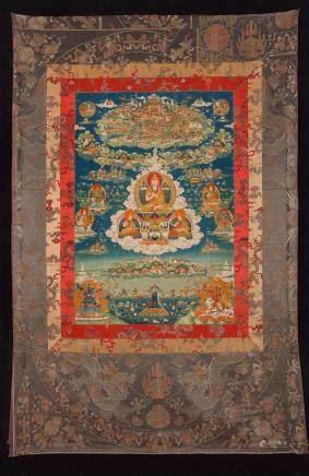 A rare thangka of Tsongkhapa in Khedrup's Vision