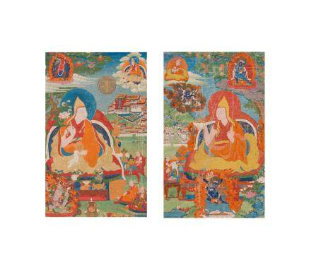 Two rare thangkas of the Fourth and Fifth Dalai Lamas