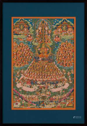 A thangka of Tsongkhapa and the Gelugpa Refuge Tree