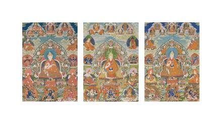 An exceptionally rare complete set of thangkas of the Panchen Lamas of Tashilhunpo