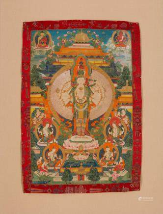 A thangka of Avalokiteshvara