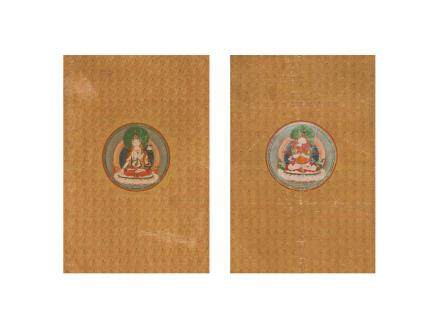 A pair of rare gold-ground thangkas of Sitatara and Chakrasamvara