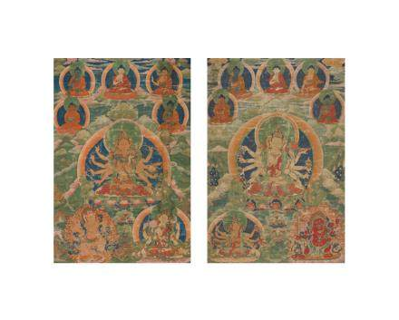 A pair of thangkas of Tara