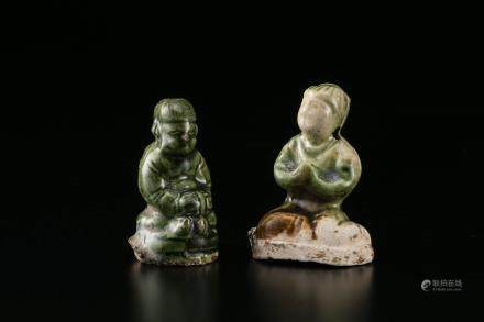 唐三彩 绿釉人物两件