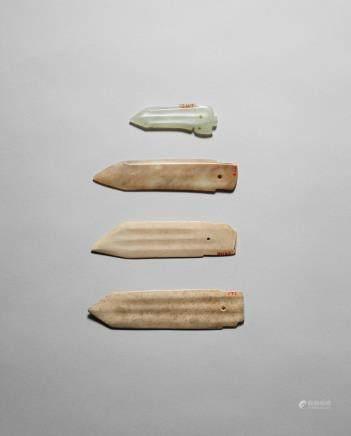 Four small jade dagger-blades, ge