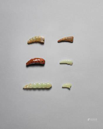 Six jade silkworm pendants