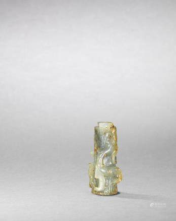 A rare pale green jade 'dragon and phoenix' tube ornament