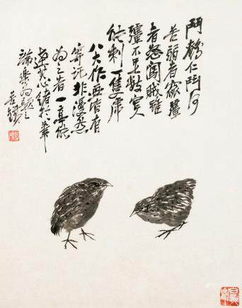 Wang Zhen (1867-1938) & Wu Changshuo (1844-1927) A Pair of Quails