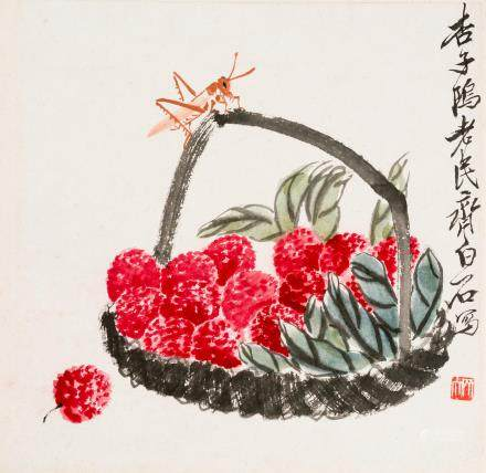 Qi Baishi (1864-1957) Lychees and Grasshopper