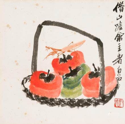 Qi Baishi (1864-1957) Persimmons and Mantis