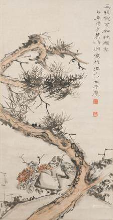 Zeng Xi (1861-1930) Pine and Chrysanthemum