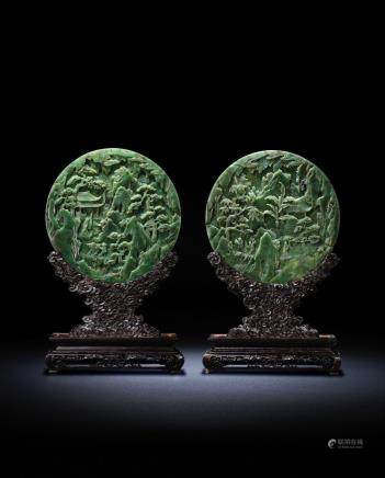 A fine pair of Imperial spinach-green jade double-carved circular table screens