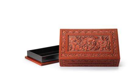 A large and rare Imperial cinnabar lacquer 'Buddhist lions' box and cover