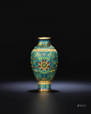 A rare Imperial gilt-bronze and cloisonné enamel 'lotus' vase