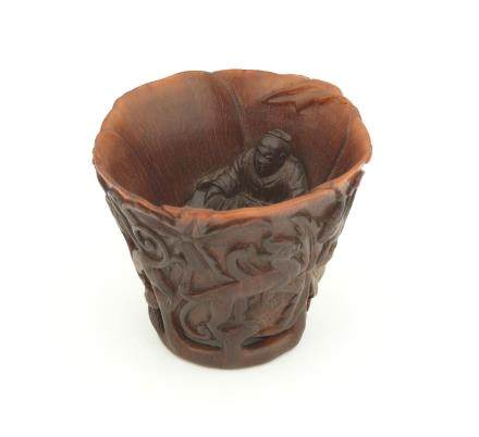 A very rare rhinoceros horn 'Zhang Qian' libation cup