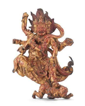元  天曆二年(1329年)或更早 漆金銅橛金剛坐像